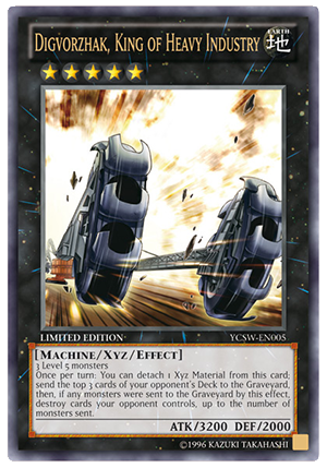 Ultra Rare version of the Digvorzhak, King of Heavy Industry prize card