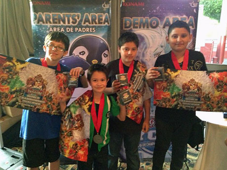 Jonathan Duran, shown on the left, earns a special Dragon Duel Champion's Medal on Saturday