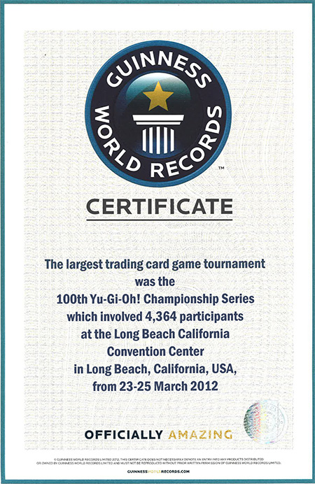 100th Yu-Gi-Oh! Championship Series Event gets GUINNESS WORLD RECORDS� title for holding the world's Largest trading card game tournament