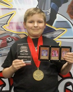 Tyler Hanson of Benbrook, TX, the YCS Las Vegas Dragon Duel Champion