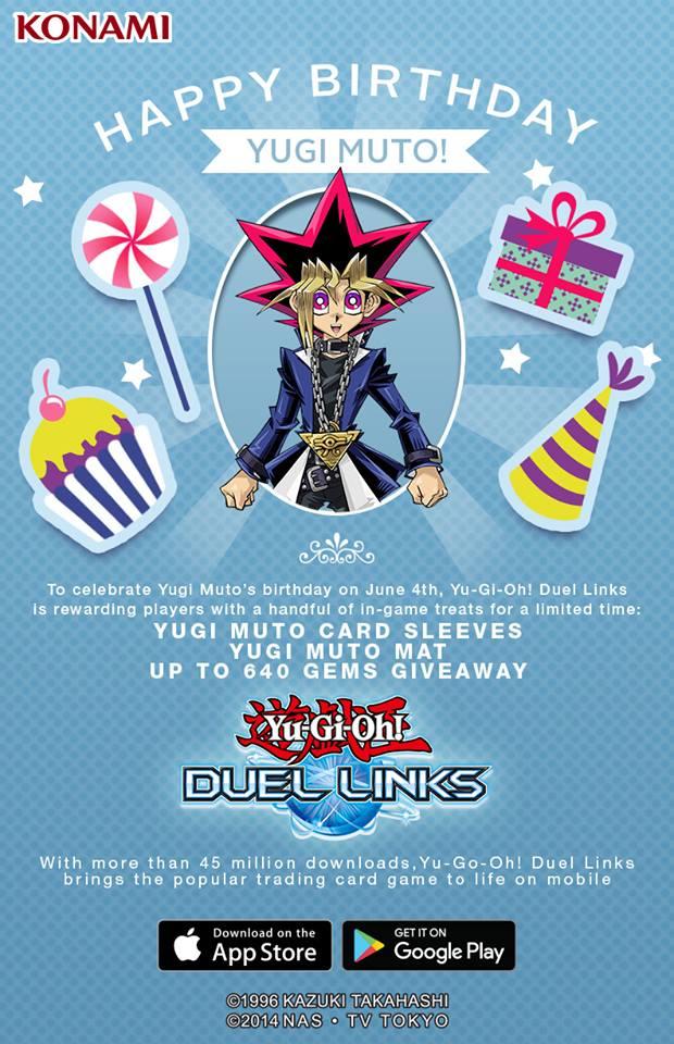 Yugi Muto's Birthday Giveaway on Yu-Gi-Oh! Duel Links