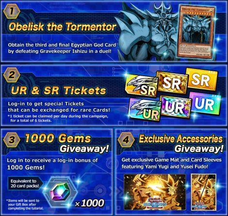 To celebrate Yu-Gi-Oh! Duel Links' second anniversary, Konami is giving out a free Obelisk the Tormentor card, as well as other free items.